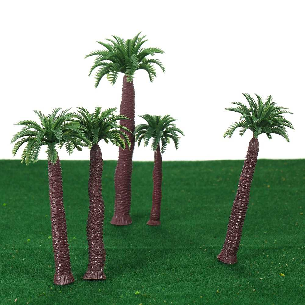 18pcs Plastic Model Tree Palm Trees Train Coconut Rainforest Scenery  Miniature