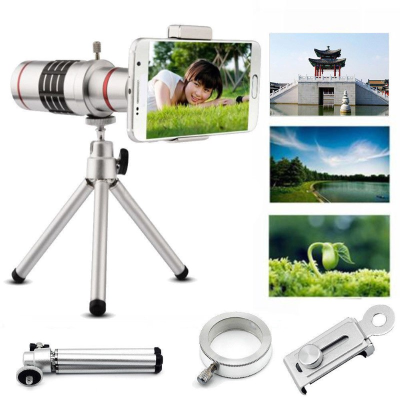 18X Optical Zoom Mobile Phone Telescope Lens Universal Clip Tripod