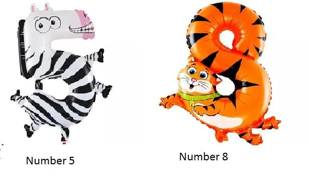 19 inch Number Balloon in Animal Shape