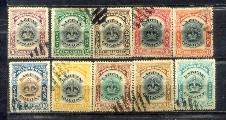 1902-03 Labuan Old Stamps 1c to 25c CV Rm 480.