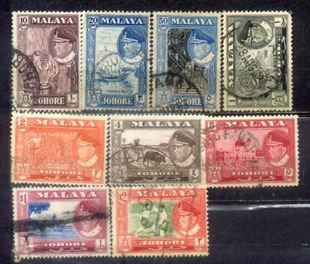 1960 Malaya Johore definitive to $2 (short of 8c & $5)
