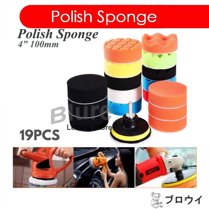"19pcs 4 Inch 4 "" Car Polishing Polish Waxing Wax Sponge Pad Kit"