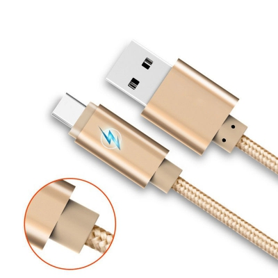 1m Cable for Type-C Led Breath Light Braided Charging Data Charger (GOLDEN)