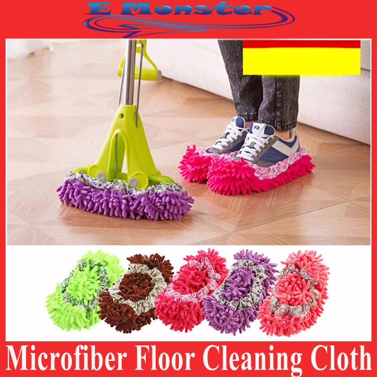 1Pair Non Slip Microfiber Mop Shoe Dust Floor Cleaning Cloth Home Use