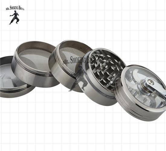 1pc 56MM 5 layers Hand Crank Tobacco aluminum Grinder herb crusher