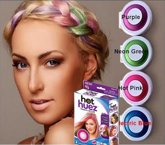 1Set of 4colors Hot Huez Hair Chalk Hot Hues No Mess No Dye ASOTV