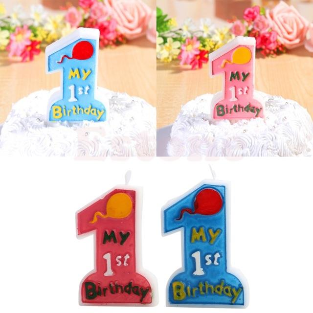 1st Birthday Cake Candle For Kids First Anniversary Party Decor