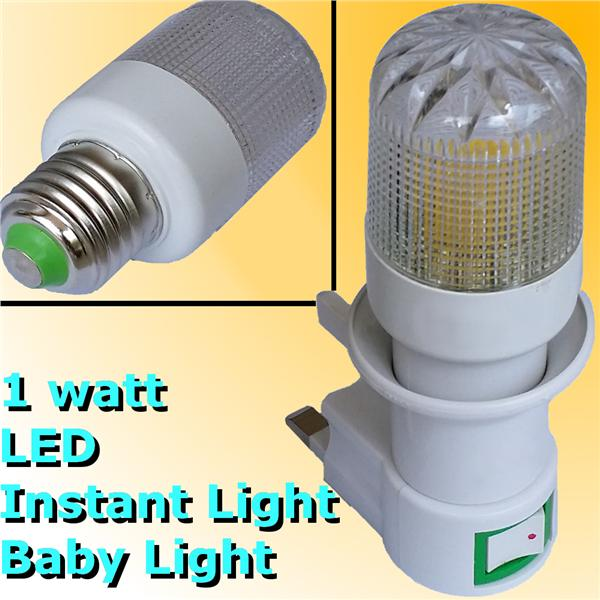 1w LED Baby Lamp E27 240V 13A socket Instant Light FREE Spare Bulb