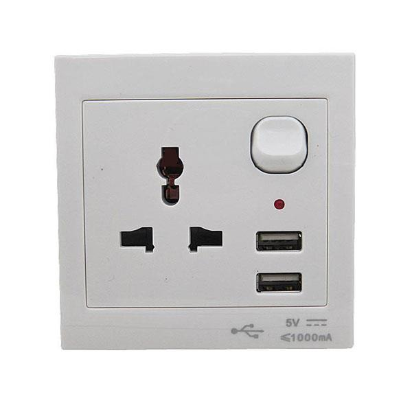 2.0A Dual USB Port Phone Charger Wall Socket Power Point