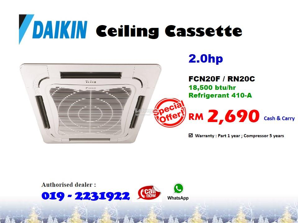 2 0hp Daikin Ceiling Cassette Air Conditioner Fcn20fv1 Rn20c