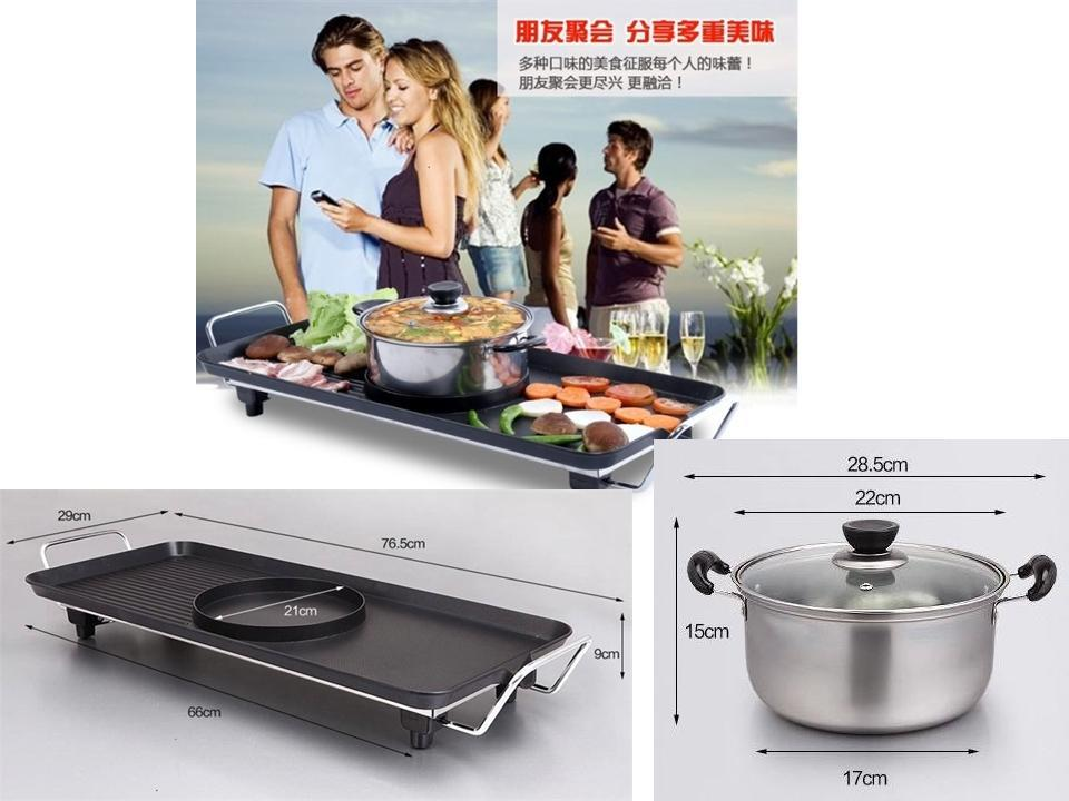 2 In 1 Bbq Steamboat Pan Barbecue Grill Free Shipping
