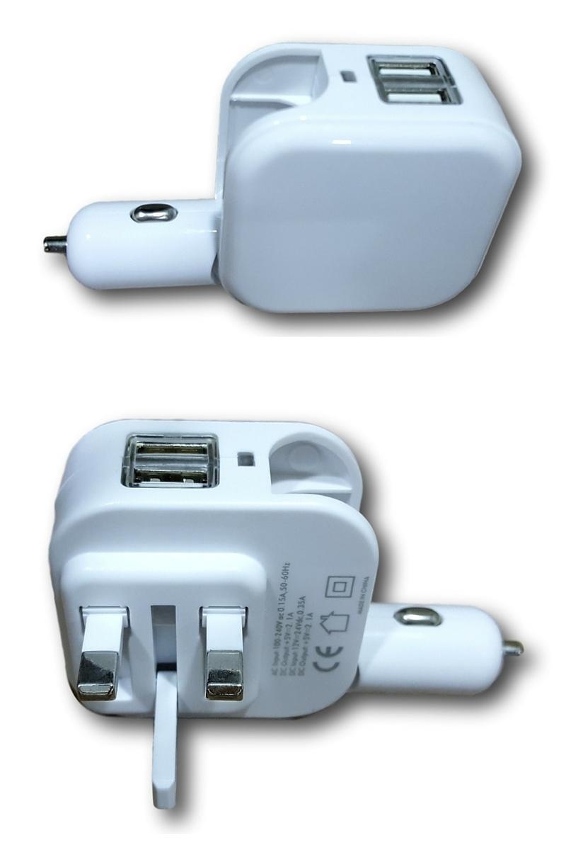 2 In 1 Car And 3 Pin Home Charger With Port USB 21Amp Fast