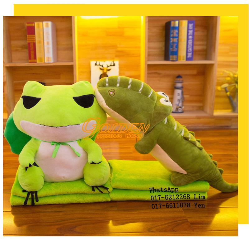 2 in 1 Cute Frog & Crocodile Pillow 2in1 Pillow blanket