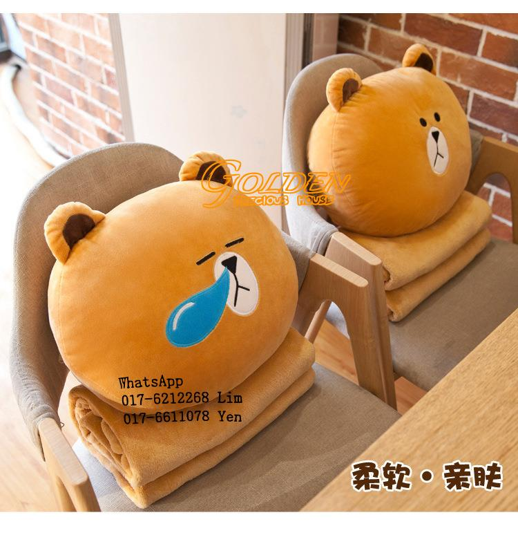 2 in 1 Cute Line Bear Pillow 2in1 Pillow blanket
