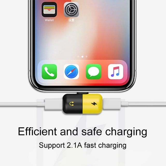 2 in 1 Dual Lightning USB Charging Cable Adapter For iphone X 7 8 Plus Headpho