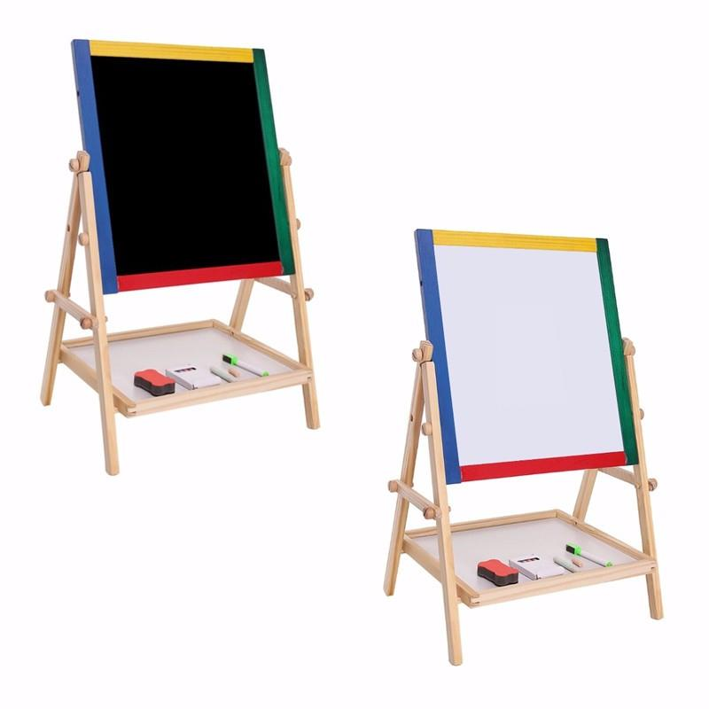 2 in 1 Easel Wooden White & Black Board -Adjustable Height