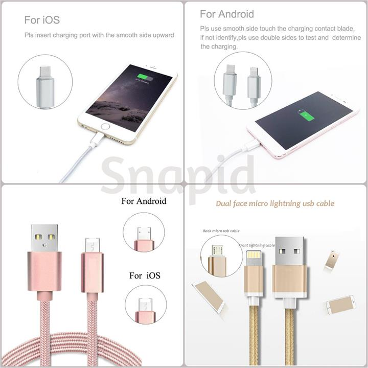 wholesale dealer 00071 cacac 2 In 1 Fast Charging Micro USB/iPhone Cable for Android/ios Phone