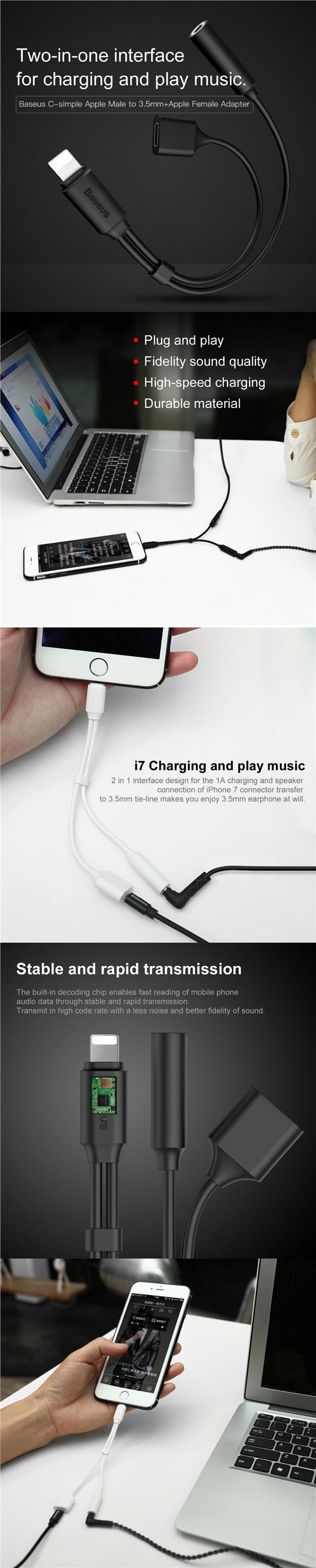 2 in 1 Lightning to Charging & 3.5mm AUX Cable
