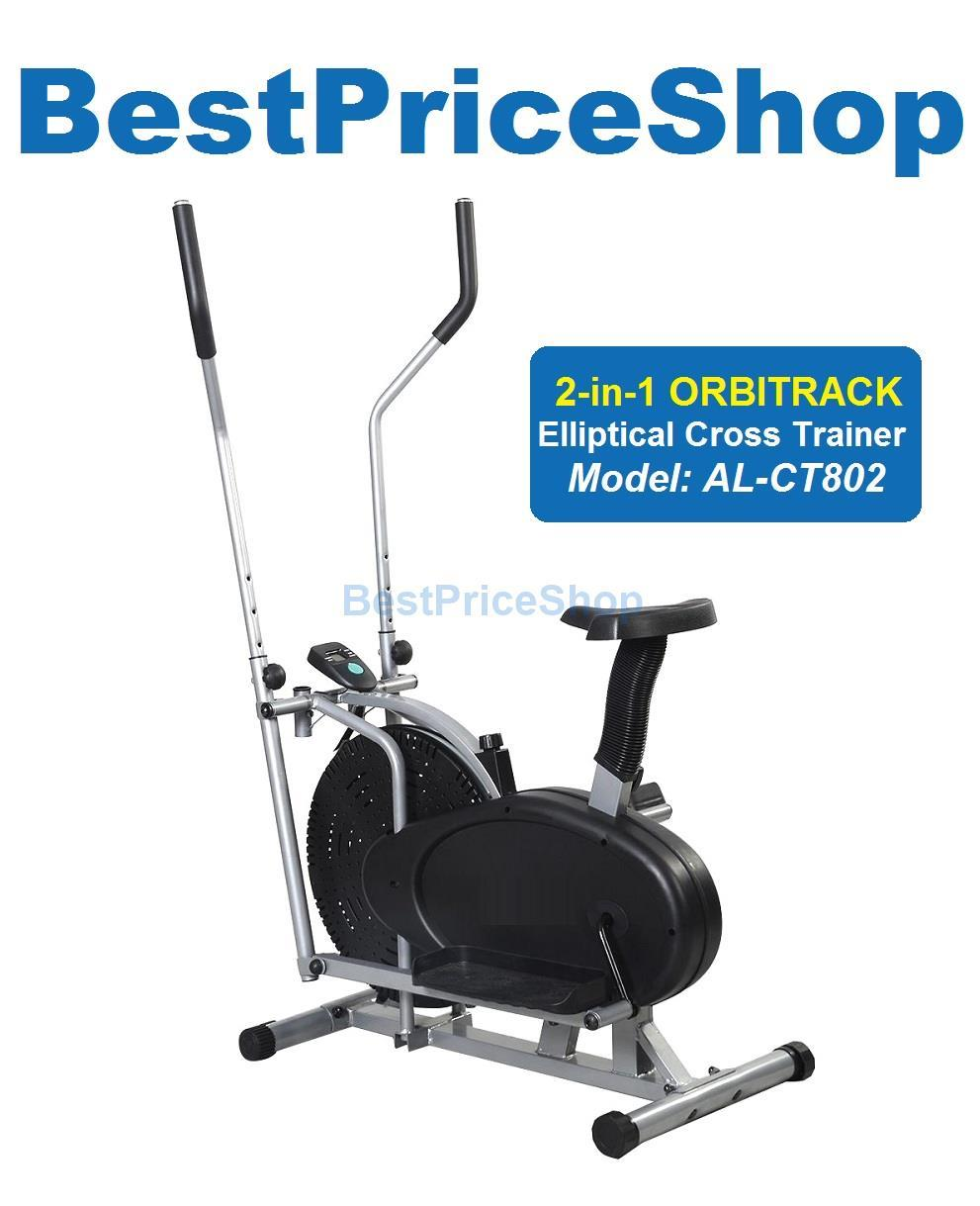 2 in 1 Orbitrack Elliptical Cross Trainer Adjustable Cycling Gym Bike