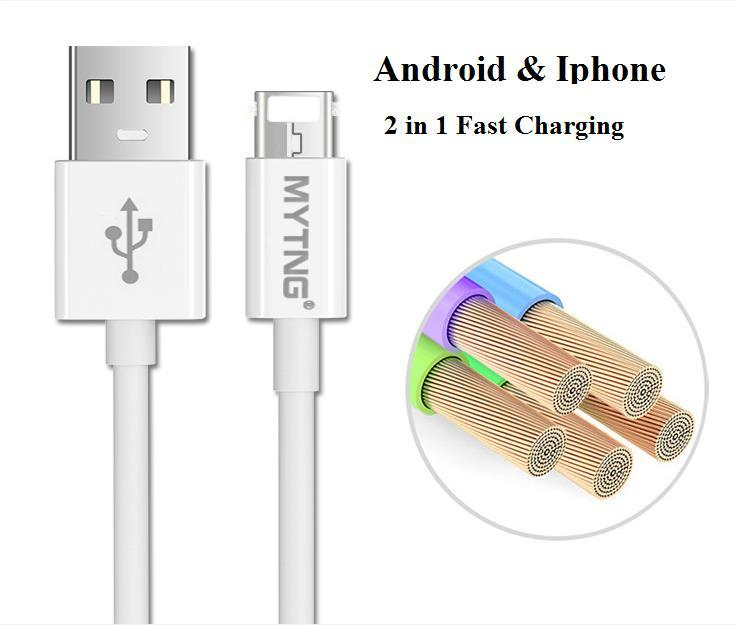 2 in 1 Reversible Double sided USB Cable Iphone Android Fast Charging