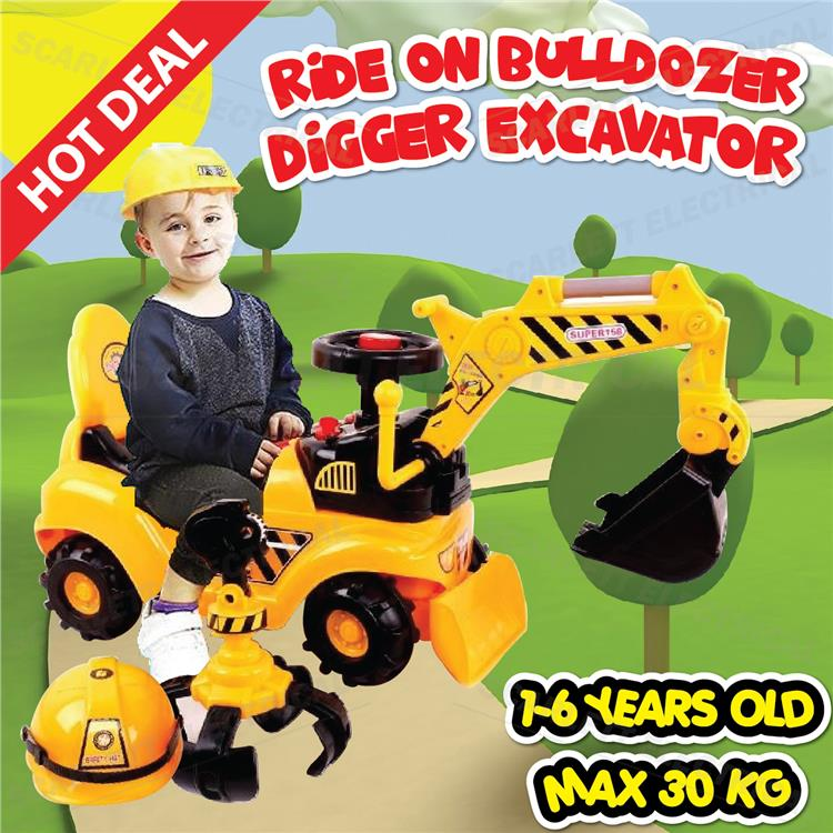 2 IN 1 Ride On Toy Bulldozer Digger Claw Excavator Grabber Safety Hat
