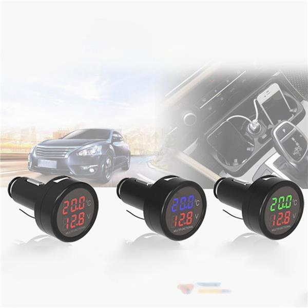 2.1A USB Car Charger, Digital Voltmeter & Thermometer