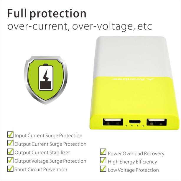 (2.4A) ORIGINAL AVANTREE TR704 Lightweight Power Bank Dual USB 6000mAh
