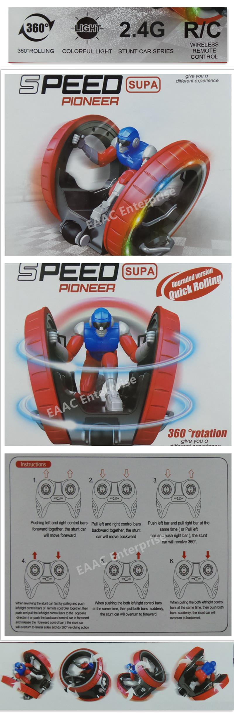 2.4GHz RC Speed Supa Pioneer 6 in 1 Stunt Car 360 Rolling with Light