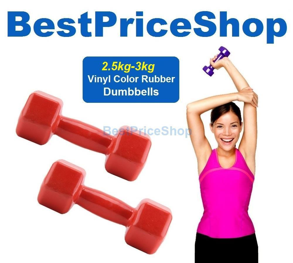 2.5kg 3kg Vinyl Color Rubber Dumbbells Hexagon Weight Lifting Aerobic