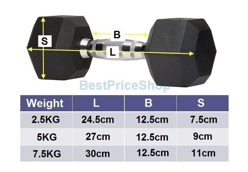 2.5kg Premium Rubber Coated Iron Hexagon Dumbbell Chrome Bar Aerobic