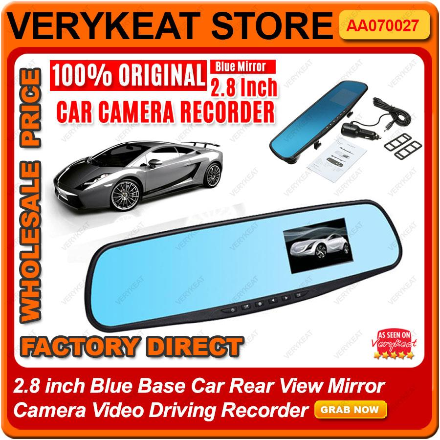 2.8 inch Blue Base Car Rear View Mirror Camera Video Driving Recorder