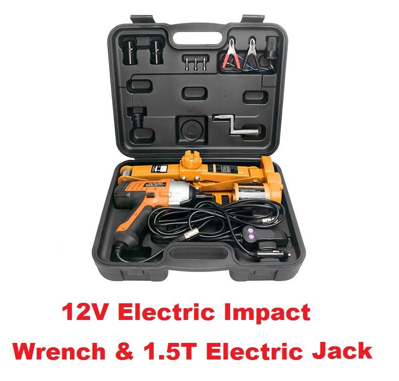 2 In1 12v Electric Scissor Jack Load 1500kg Impact Wrench By Car