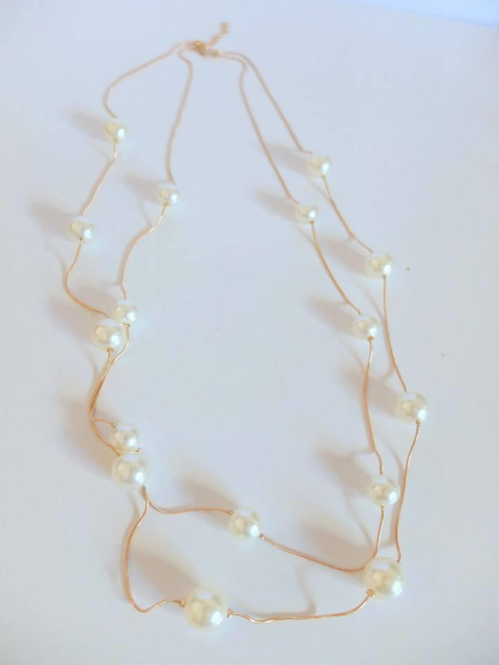 2 layer gold chain with big pearl lon (end 4/6/2018 5:34 PM)