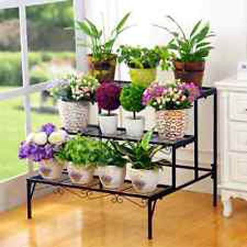 2 LAYER WHITE COLOR IRON STAND MULTI LEVEL FLOWER POT PLANTS RACK