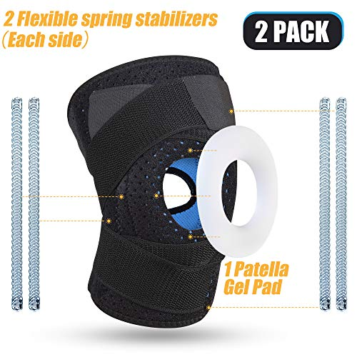 (2 Pack) ShieldTech Knee Braces with Spring Stabilizers  & Gel Patella Pad for