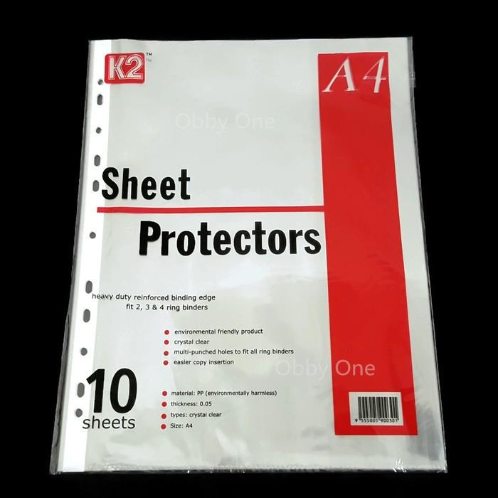 2 Packets Sheet Protector A4 Paper Clear Protectors (10 sheets/pkt)