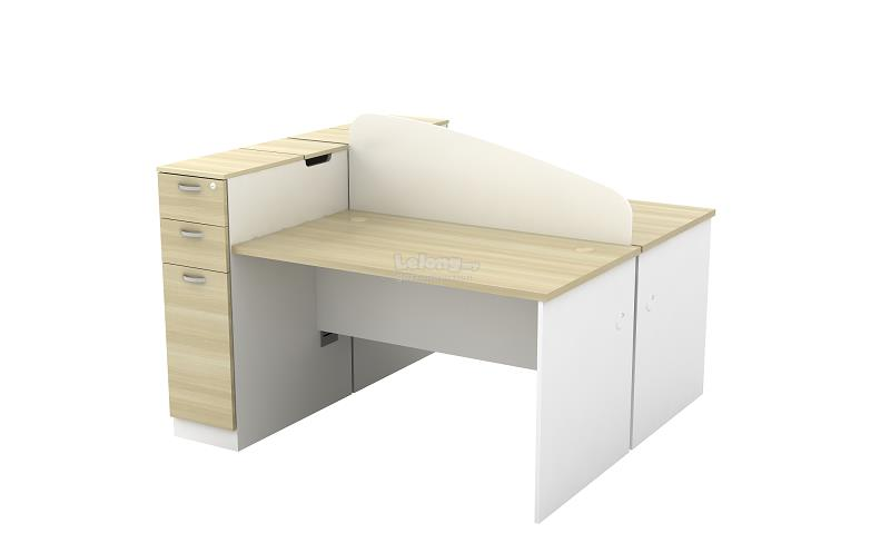 2 Pax Workstation Tables with Storage Cabinet