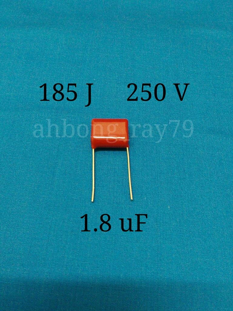 2 Pcs 185J 250V 1.8uF Metallized Polypropylene Film Capacitor