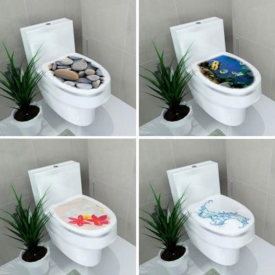 2 Pcs 4 Styles Creative PVC Toilet Seat Cover Decoration Sticker