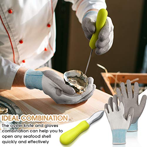 2 Pieces Oyster Shucking Knives with Cut Resistance Gloves Set Stainless Steel