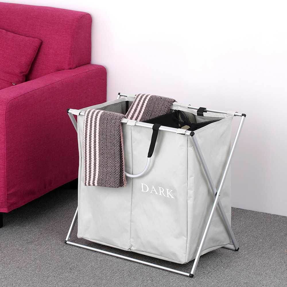 2 Sections Foldable X-frame Oxford Laundry Basket Hamper Mesh