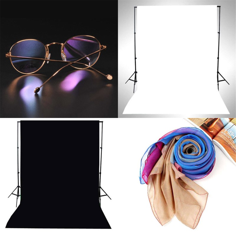 2-sided 2in1 Black White Double Side Backdrop Cloth Photo Studio Curta