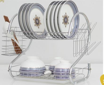 2 Tier Stainless Steel S Shape Dish Drainer Plate, Bowl and Mug Rack
