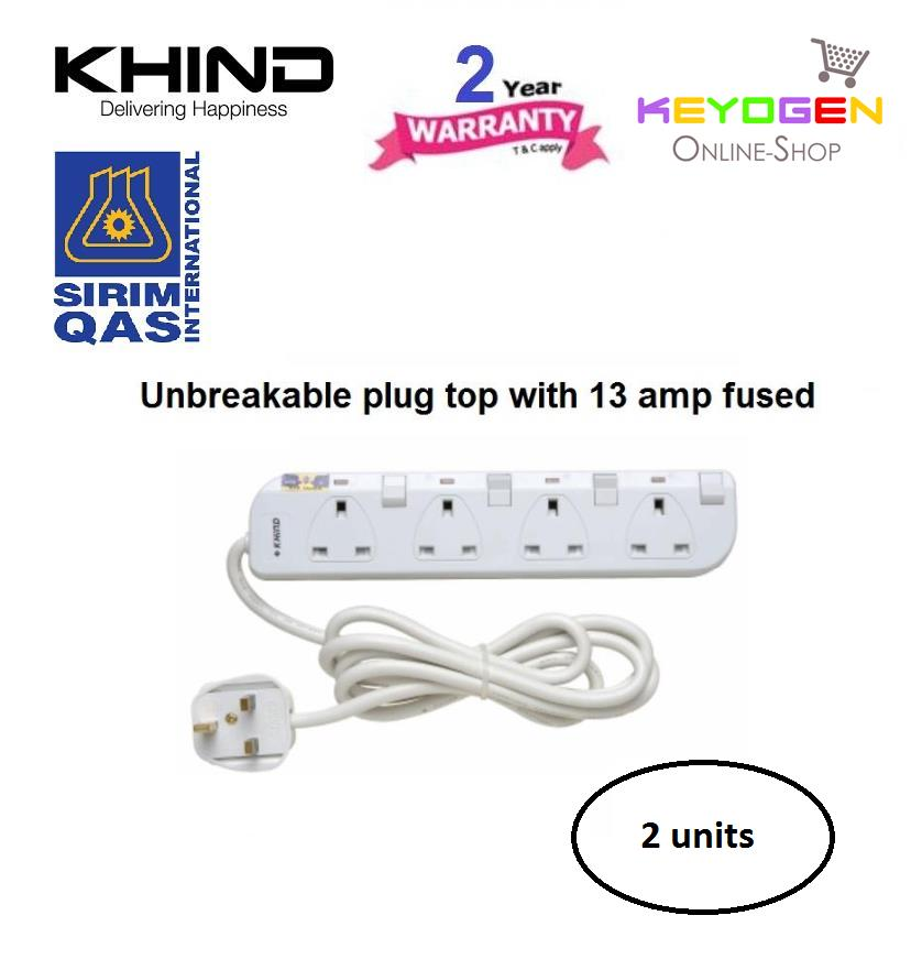 2 units KHIND 4 Gang Trailling Socket (Extension Cord) LN8134W - FUSED