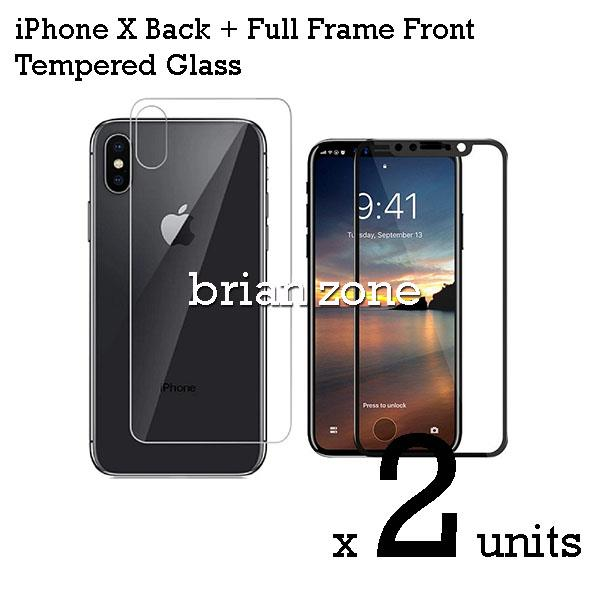 2 Units Premium Quality Full Frame Front + Back Tempered Glass for iPh