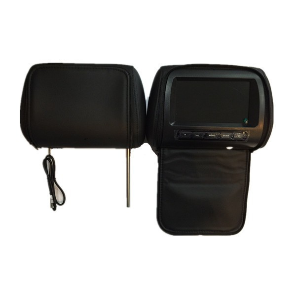 "2 X 7 "" TFT LCD Monitor Headrest With Universal Mount Pillow Black Grey B"