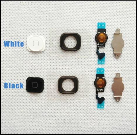 2 X Black/White Home Button Menu with Flex Cable Key Cap for iPhone 5
