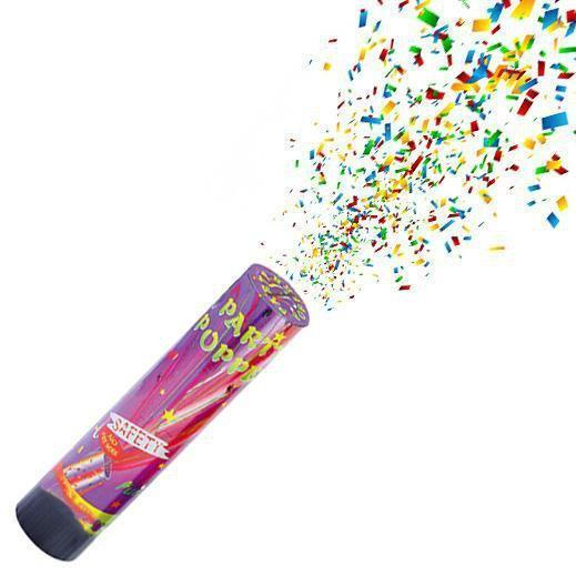 20.5cm Party Confetti Poppers Foil Colourful Streamers Birthday Events