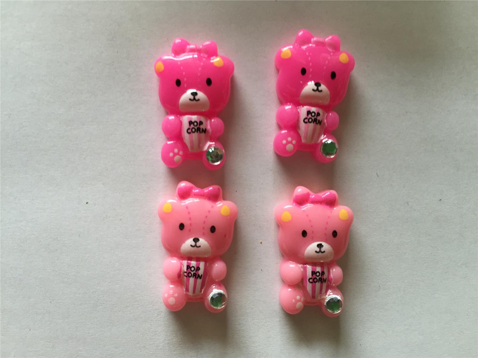 20 pcs Cute  Pink Teddy Bear Cartoon cabochon flatback Decoration