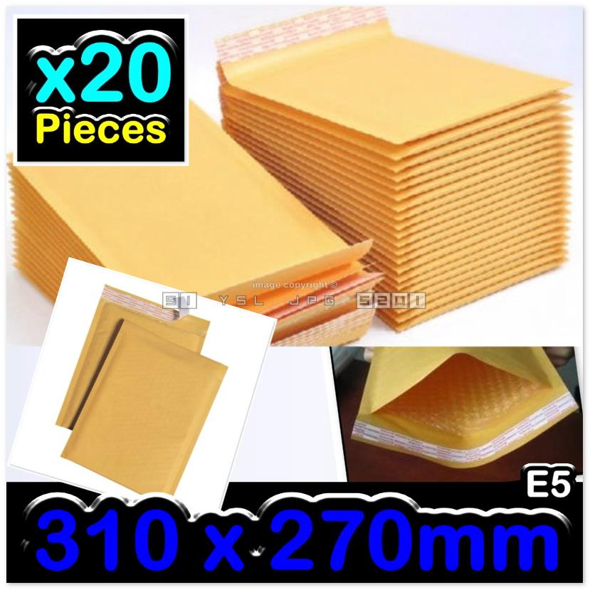 20 Pieces 310x270mm Golden Kraft Air Bubble Wrap Envelope Mailer E5#
